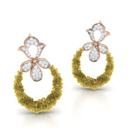 poppy yellow sapphire diamond earring