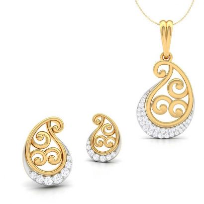 meadow white gold pendant set