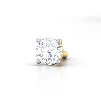 4 prong martini low height solitaire earring for men