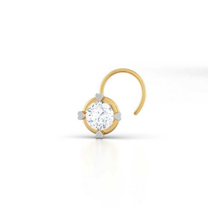 heart prong solitaire nose pin