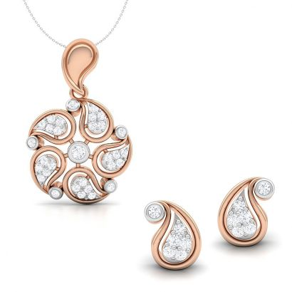 bluebell rose gold pendant set
