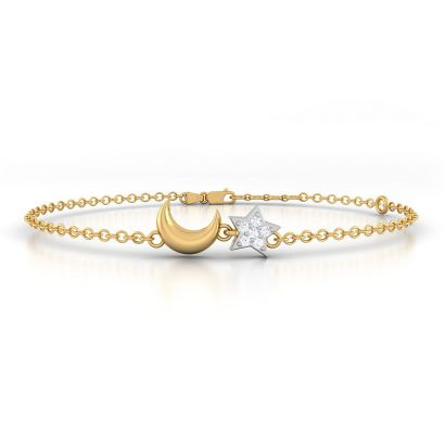 star moon gold diamond bracelet