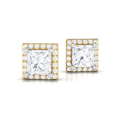 halo princess solitaire studs-Ready To Ship