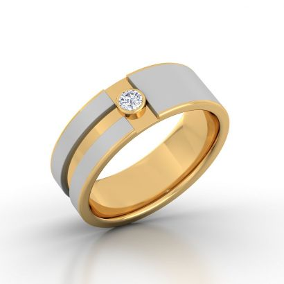 Two Track Diamond Band For Him