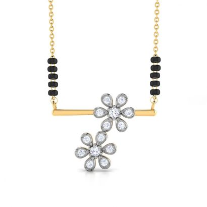 diamond studded flower mangalsutra