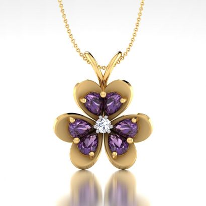 purple cluster pendant-Ready To Ship